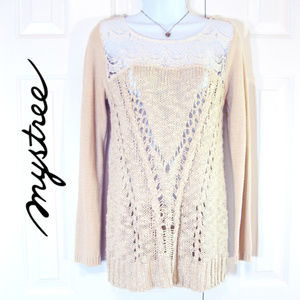 Mystree | Open Knit Romantic BoHo Sweater